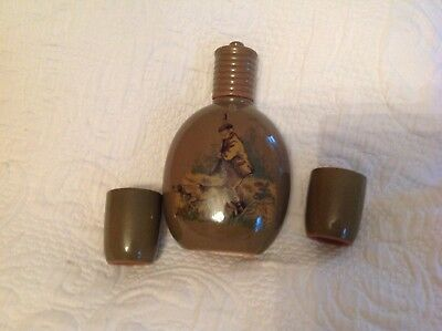 Hunter Ceramic Set Flask and Two Ceramic glasses Preowned