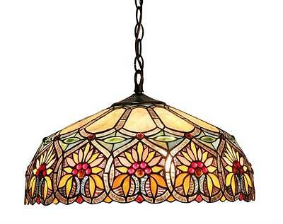 "Stained Glass Chloe Lighting Floral 2 Light Ceiling Pendant Fixture 18"" Shade"