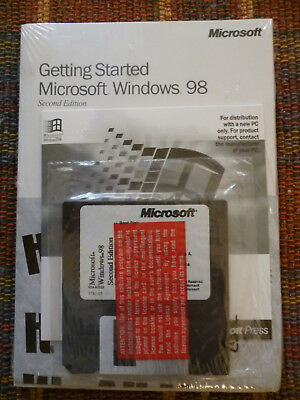 Getting Started Microsoft Windows 98 New Sealed With Floppy, Cd & Key