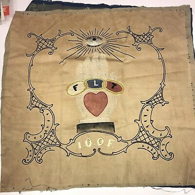 RARE ANTIQUE VINTAGE IOOF Odd Fellows Banner FLAG SIGN All Hand Embroidered