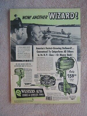 Vintage 1950 Western Auto Wizard Twin 6 Six Outboard Boat Motors Print Ad