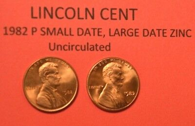 1982 P Small Date & Large Date Zinc Lincoln Memorial Cent Penny Uncirculated 01