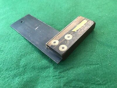 """Vintage I & D Smallwood No. 530E 6"""" Rosewood & Brass Square Old Carpentry Tool"""