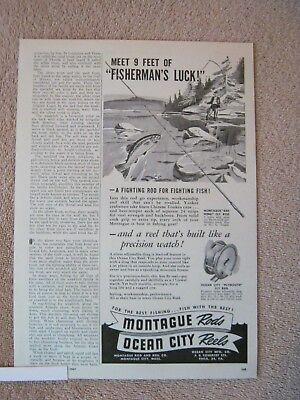 Vintage 1947 Montague Red Wing Bamboo Fly Fishing Rods Ocean City Reels Print Ad