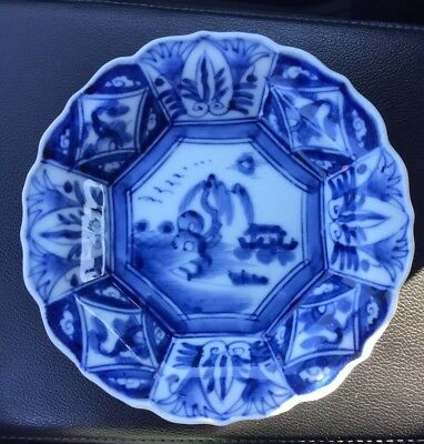 Stunning Kraak Asian blue And White Dish Marked On The Bottom Porcelain