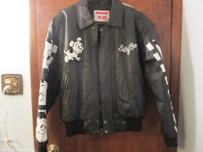 Betty Boop Black & White Leather Bomber Jacket American Toons Excelled Size S