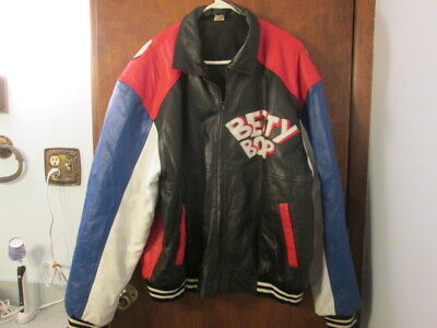 Rare Betty Boop Red White & Blue Leather Bomber Jacket Size 3XL