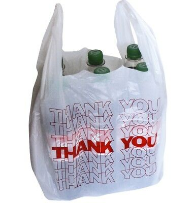 500x Thank You White Plastic Bags Bag Einkauf Vests Carrier Bags for Kiosk
