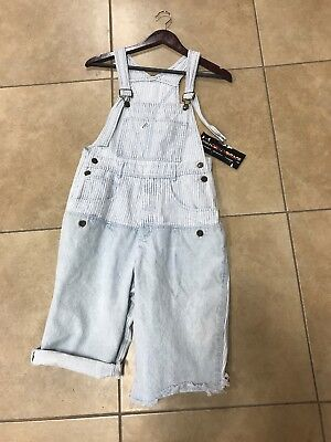 Women's Vintage Guess Jeans Denim Short Overalls Bleached Made USA Size 2