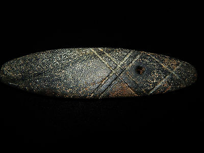 Pre-Columbian Blackstone Celt, Incised Lines, Excellent Condition