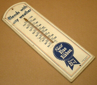 """VINTAGE OLD 12"""" PABST BLUE RIBBON WOODEN BEER THERMOMETER PROMO WOOD 1950's 60's"""