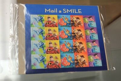 New Sealed Usps Mail A Smile Pixar 20 Forever Stamps Nemo Monsters Incred Toy St