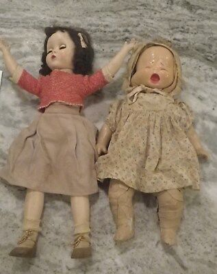 Lot of Vintage Antique Dolls, one with rotating multiple face head