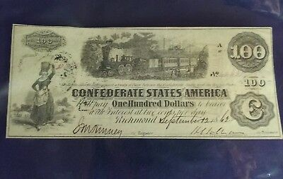 T-40 1862 $100 T.Sanford Depository Confederate States Currency CSA Watermark
