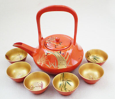 Set Vintage JAPANESE Hand Painted LACQUERED TEAPOT & 6 Cups GOLD & Orange