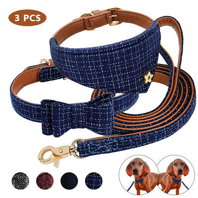 Bow Tie Leather Dog Collar&Neck Scarf&Leash Set British Style PU Leather Padded