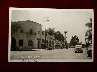 Rare Vista California Real Photo Postcard Bank And Business District Old Cars