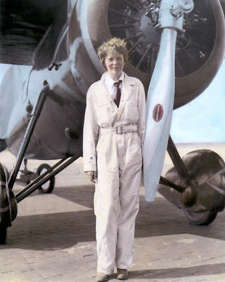 """AMELIA MARY EARHART AVIATION PIONEER AUTHOR PILOT 8x10"""" HAND COLOR TINTED PHOTO"""