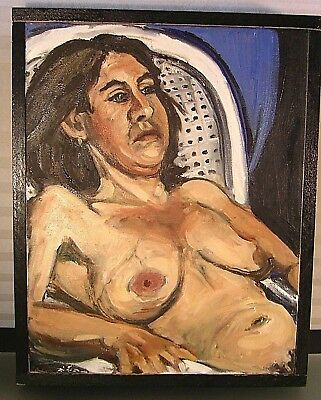Expressionist Nude Portrait Painting Woman Mid Century Art Framed