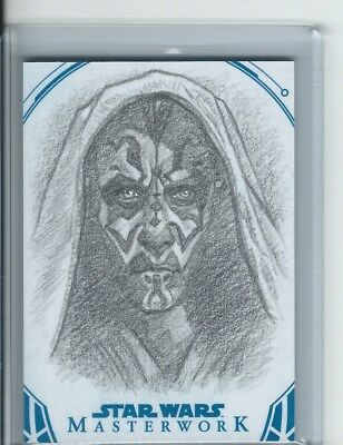 2018 Topps Star Wars Masterwork Dan Bergren SKETCH #1/1 Darth Maul