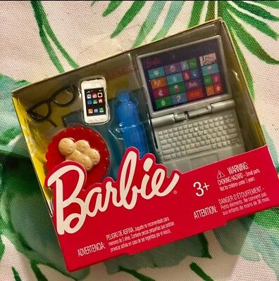Barbie Tech Accessory Pack Phone Cookies Glasses Water Bottle Laptop 1:6 Diorama