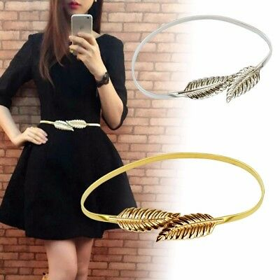 Women Leaf Belt Stretch Metal Waistband Elastic Vintage Waist Chain Silver Gold