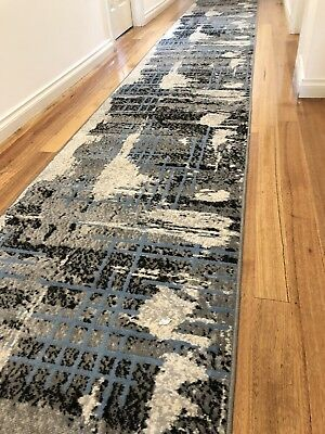 Deanna Multi Moon Modern Hallway Runner Hall Runner Rug Blue Grey 5 Metres