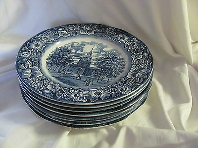 Liberty Blue Staffordshire blue white 8 dinner plates Independence Hall