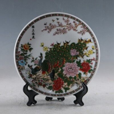 Chinese Porcelain Handmade Peacock  Plate XPZ003