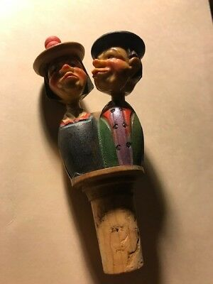 Antique Mechanical Wooden Cork Stopper Great Collectible Kissing Couple