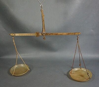ANTIQUE MEDICAL PHARMACY APOTHECARY BRASS BALANCE SCALES w/HORN CUPS 1-10gr.