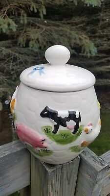 Los Angeles Potteries Farm Animal Blue Ribbon Cookie Jar With Egg Lid Handle