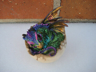 """Purple Baby Dragon Hatching From Cracked Egg Figurine Statue 4"""" Resin"""
