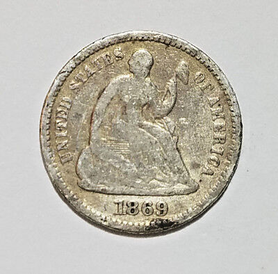 1869 90% silver seated Liberty half dime  (11718-221)