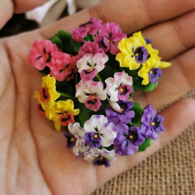 10 x Colorful Pansy Clay Flower Miniature Dollhouse Handicrafts Collectible #007
