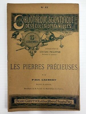 Antique 1880s Booklet on Precious Stones by Gaubert, Illustrations, France