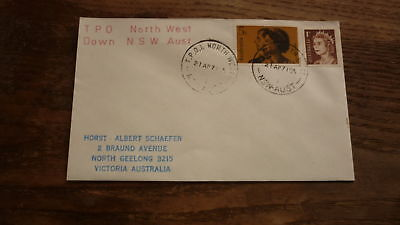 Old Australian Railway Cover, 1971 Tpo North West Down Service Postmark Nsw