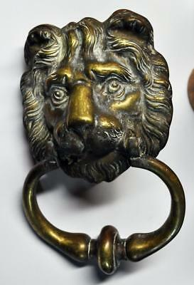 Superb 19Th Century Architectural Large Bronze Lion Door Knocker