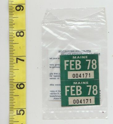 February 1978 Maine License Plate Renewal Stickers    Nos