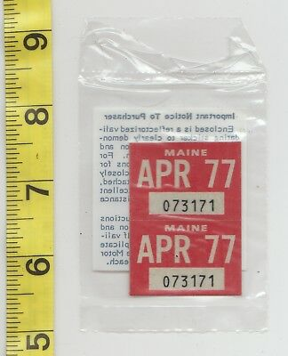 April 1977 Maine License Plate Renewal Stickers    Nos