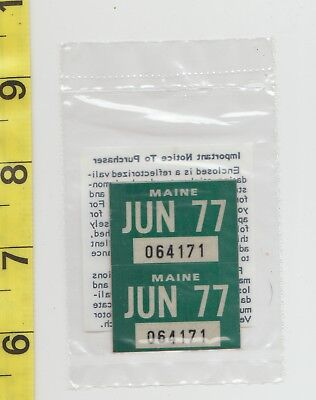 June 1977 Maine License Plate Renewal Stickers    Nos