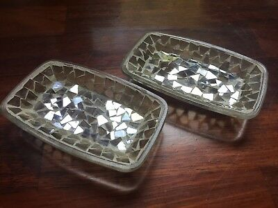 Pair Of 2 Beautiful Clear Glass & Silver Mirror Mosaic Soap Dish / Trinket Trays