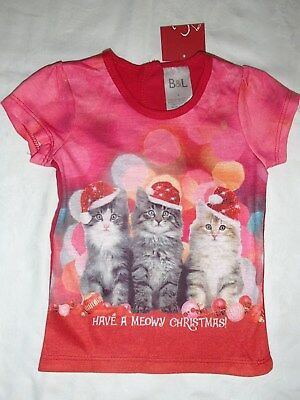 NEW QUALITY Baby Girl Christmas Xmas Top Tee - Size 0 - Cats - BNWT