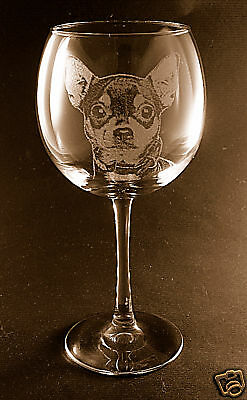 New! Etched Chihuahua on Large Elegant Wine Glasses - Set of 2