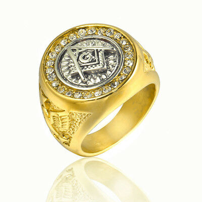 Byzantine Style Men's Masonic Ring Stainless Steel Biker Ring Gold Silver Punk