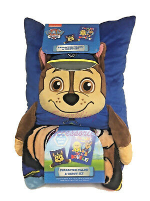 NEW Nickelodeon Paw Patrol Chase Character Pillow & Throw Blanket Set Kids Gift!
