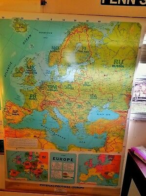 """Vintage Political / Physical Europe School Classroom Scroll Map (61"""" x 44"""")"""