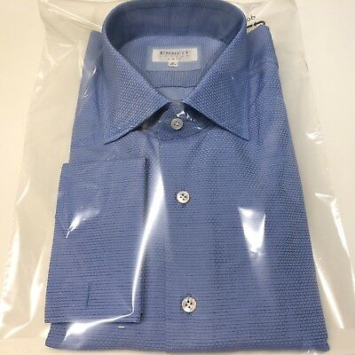 """Mens Blue Shirts EMMETT 18"""" SLIM FIT Textured Double Cuff with MOP Buttons BNWT"""