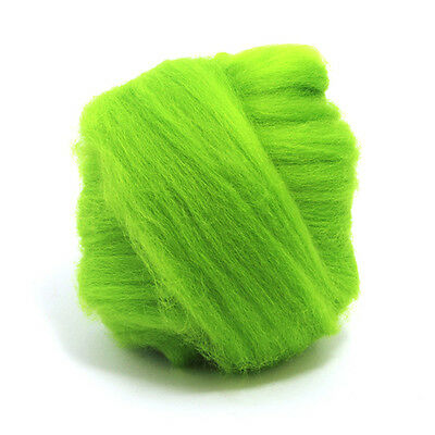 50g Dyed Merino Wool Top Chartreuse Green Dreads Needle Spinning Felting Roving