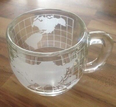 Vintage The Nestle Co Inc. World Globe Earth Etched Clear Glass Coffee Mug Cup